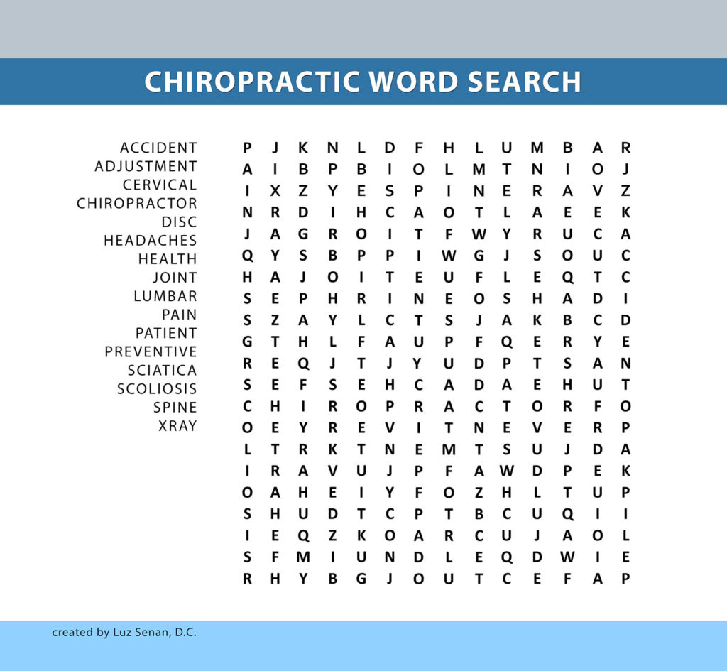 chiropractic word search